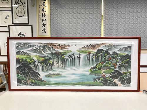 (已结缘)周国耀 小六尺 云山叠翠 精品聚宝盆 国画山水画