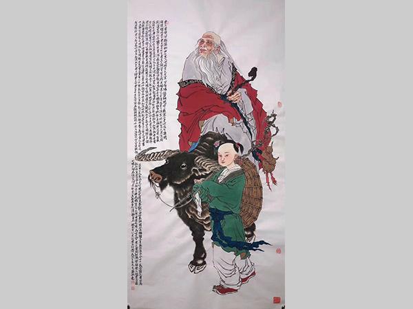 杨航彪 收藏 四尺整张 老子出关人物画
