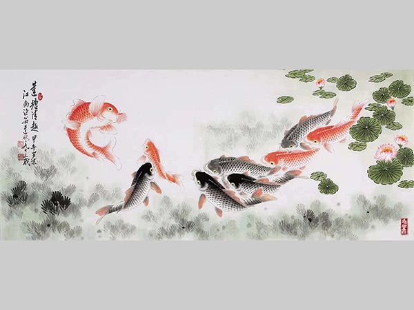 迟明 收藏 小六尺整张 写意国画 鱼